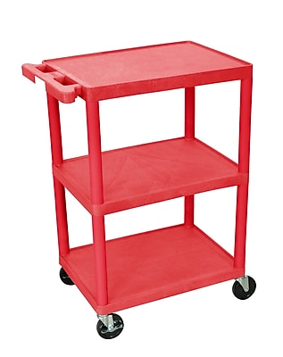 Luxor Structural Foam Plastic Three Shelf Utility Cart, Red