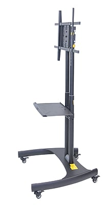 Luxor Adjustable Height Rotating Flat Panel TV Stand With Mount, Black