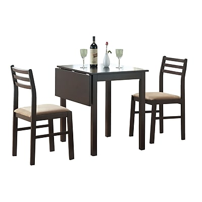 Monarch 3PC Padded Solid-Top Drop Leaf Dining Set, Cappuccino 348781