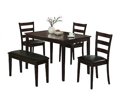 Monarch 5PC Dining Set With A Bench and 3 Side Chairs, Cappuccino