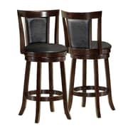 "Monarch 43"" Leather Swivel Barstool, Black"