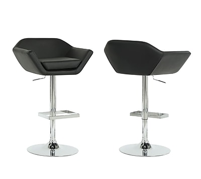 Monarch Leather Chrome Metal Hydraulic Lift Barstool With Symmetrically Shaped Seat, Black, 2/Pack
