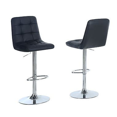 Monarch Leather Chrome Metal Hydraulic Lift Barstool With Pedestal Base, Black