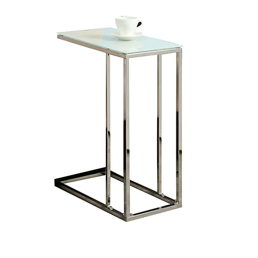 """Monarch 24"""" Tempered Glass/Chrome Metal Accent Table, White"""