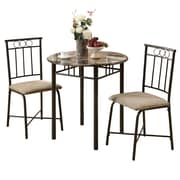 Monarch Metal 3 Piece Bistro Set, Cappuccino/Bronze