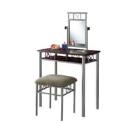 "Monarch Metal Vanity With Mirror and Stool, Dark Brown, 51"" x 29.1"" x 15.7"""