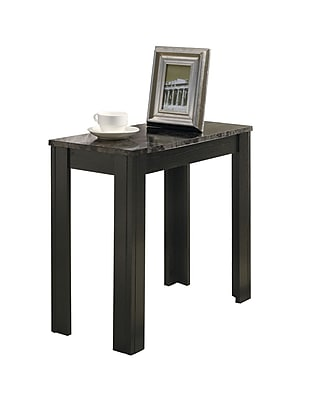 """Monarch 23 1/2"""" Marble Accent Side Table, Black/Gray"""