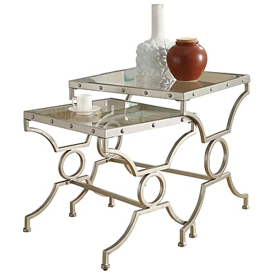 """""Monarch 2 Piece 19 1/2"""""""" x 17 1/2"""""""" x 19 1/2"""""""" Tempered Glass Nesting Table Set, Clear"""""" 343818"
