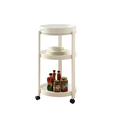 Monarch Bar Cart With Serving Tray On Castors, White, Solid Wood