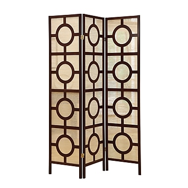 Monarch Specialties Inc. 3 Panel Circle Design 70.5''Hx52''W Privacy Panel, Light Wood (I4620)
