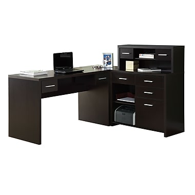 Monarch Specialties Inc L Shaped Executive Desk Cappuccino I 7018
