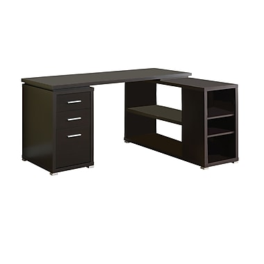 Monarch specialties inc corner computer desk cappuccino i 7019 staples - Staples corner storage ...