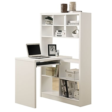 Monarch specialties inc corner computer desk white i 7022 staples - Storage staples corner ...
