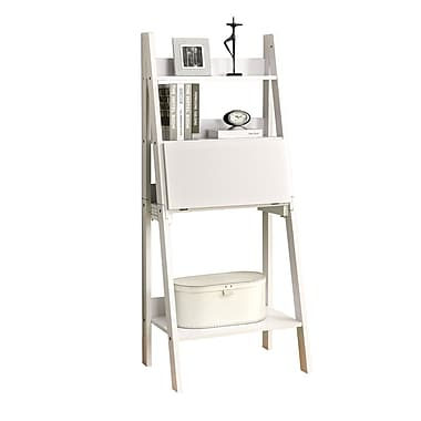 Monarch Ladder Bookcase With a Drop-Down Desk, White