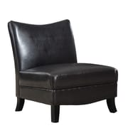 Monarch Specialties Inc. Leather Slipper Chair, Dark Brown (I 8046)
