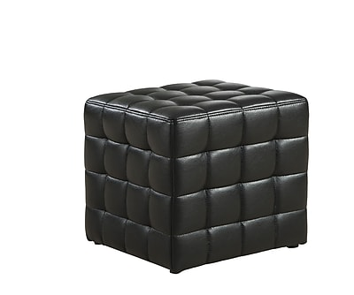 Monarch Leather Look Ottoman, Black