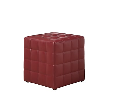 Monarch Leather Look Ottoman, Red