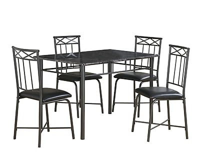 Monarch 5PC Marble Dining Set, Gray