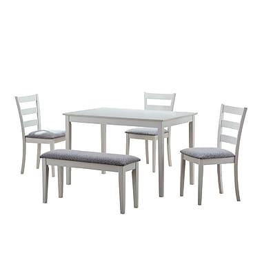 Monarch 5PC Dining Set With A Bench and 3 Side Chairs, White