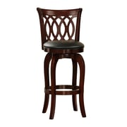 "HomeBelle 29"" Scroll Back Swivel Counter Stool, Cherry"