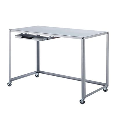 HomeBelle Computer/Writing Desk with Caster, Silver (78299H200A(3A))