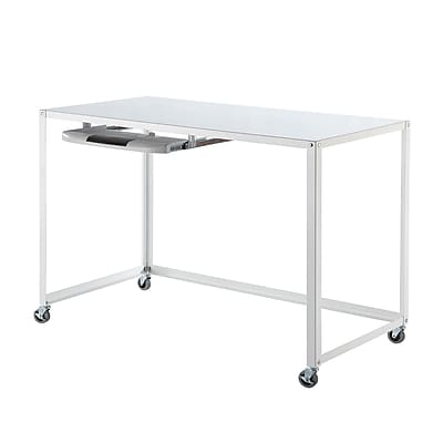 HomeBelle Computer/Writing Desk with Caster, White (78299H201A(3A))