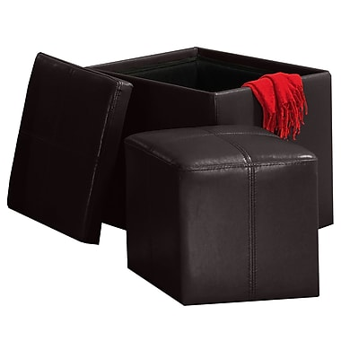 HomeBelle Storage Ottoman With Mini Foot Stool, Brown
