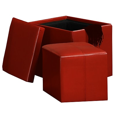 HomeBelle Storage Ottoman With Mini Foot Stool; Red