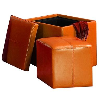 HomeBelle 4723RN Vinyl Ottoman, Orange