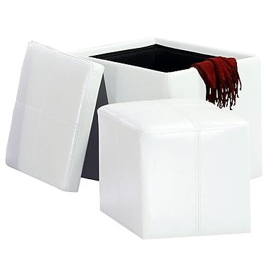 HomeBelle Storage Ottoman With Mini Foot Stool, White