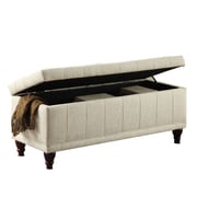 HomeBelle Lift Top Fabric Tufted Storage Bench, Cream
