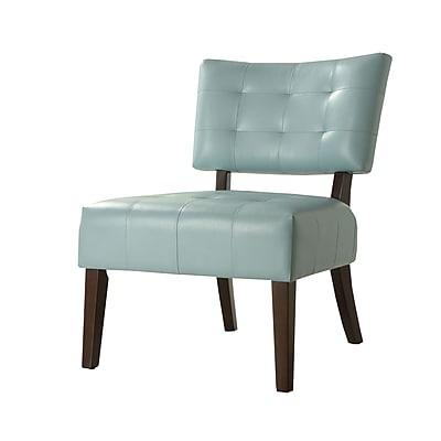 HomeBelle Faux Leather Accent Chair, Sky Blue (78489BL)