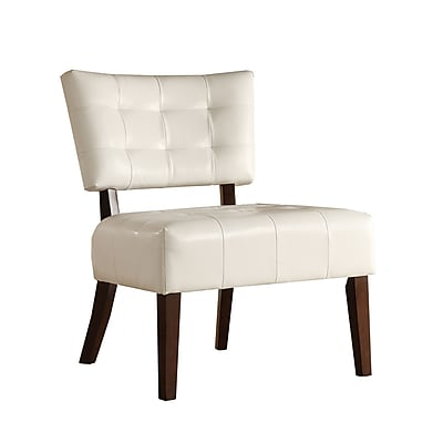 HomeBelle Faux Leather Accent Chair, White (78489WT)