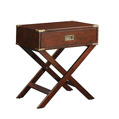 HomeBelle Accent Table With X Leg Nightstand, Espresso