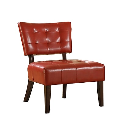 HomeBelle Faux Leather Armless Accent Chair; Red