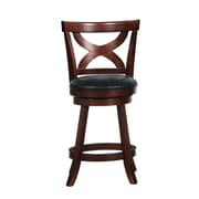"HomeBelle 24"" X-Back Swivel Counter Stool, Cherry"