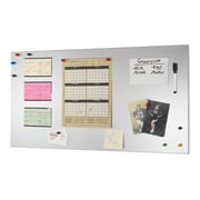 "MMF Industries™ STEELMASTER® Flat Magnetic Note Board, Silver, 14""H x 30""W x 1/2""D"