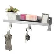 "MMF Industries™ STEELMASTER® Metal Display Shelf With Peg Hooks, Silver, 5""H x 18""W x 4 1/2""D"