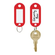 "MMF Industries™ STEELMASTER® Label-Window Key Tags, Red, 2""H x 7/8""W x 3/16""D"
