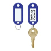 "MMF Industries™ STEELMASTER® Label-Window Key Tags, Blue, 2""H x 7/8""W x 3/16""D"