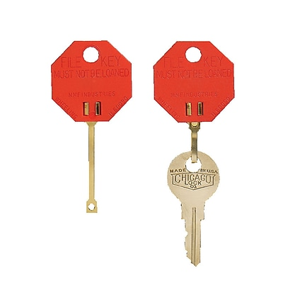 MMF Industries™ Snap-Hook Octagon Key Tags, Red, 1 1/4