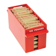 "MMF Industries™ Porta-Count® Extra Capacity Rolled Coin Tray, Red, $25 Pennies, 4 1/3""H x 3 3/4""W x 9 5/8""D"