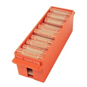 "MMF Industries™ Porta-Count® Extra Capacity Rolled Coin Tray, Orange, $300 Quarters, 3 5/8""H x 3 3/8""W x 11 1/2""D"