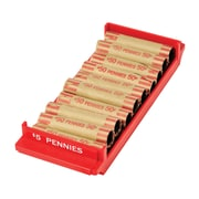 "MMF Industries™ Porta-Count® Rolled-Coin Storage Tray, Red, $5 Pennies, 1 3/8""H x 3 3/4""W x 9 5/8""D"
