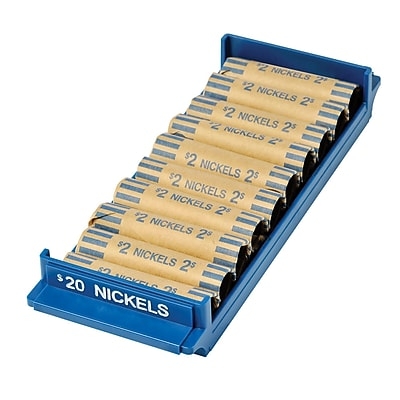 MMF Industries™ Porta-Count® Rolled-Coin Storage Tray, Blue, $20 Nickels, 5