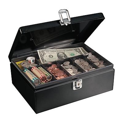 MMF Industries™ STEELMASTER® Anti-Theft Cable Cash Box, Black, 4