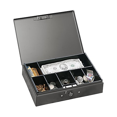MMF Industries™ STEELMASTER® Cash Box with Safety Latch, Gray, 2 1/4