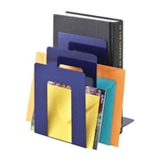 """MMF Industries™ STEELMASTER® 5 3/8"""" Deluxe Sorter Square Bookend, Blue"""