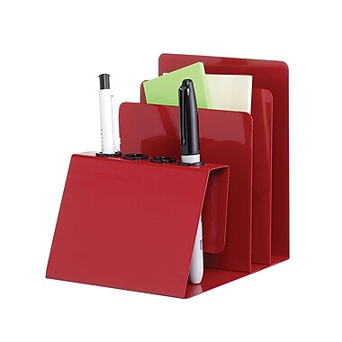 MMF Industries™ STEELMASTER® Steel Organizers Pen and Note Holder, Red