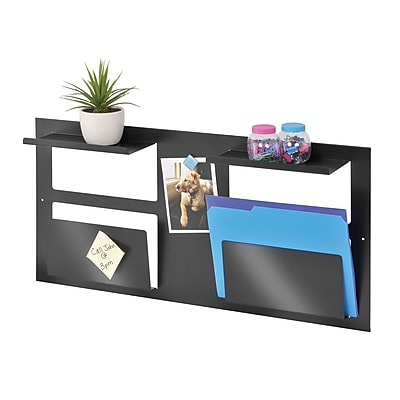 MMF Industries™ STEELMASTER® Multipurpose Wall Organizer, 2 Slots and 2 Shelves, Black